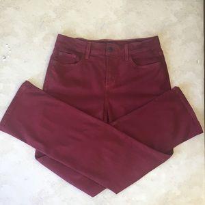 NYDJ Red/Maroon Marilyn Straight Leg Jeans